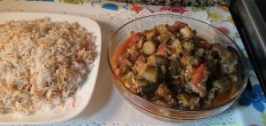 البامية باللحم والأرز