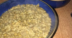 مجدرة الأرز والعدس المخبوصة