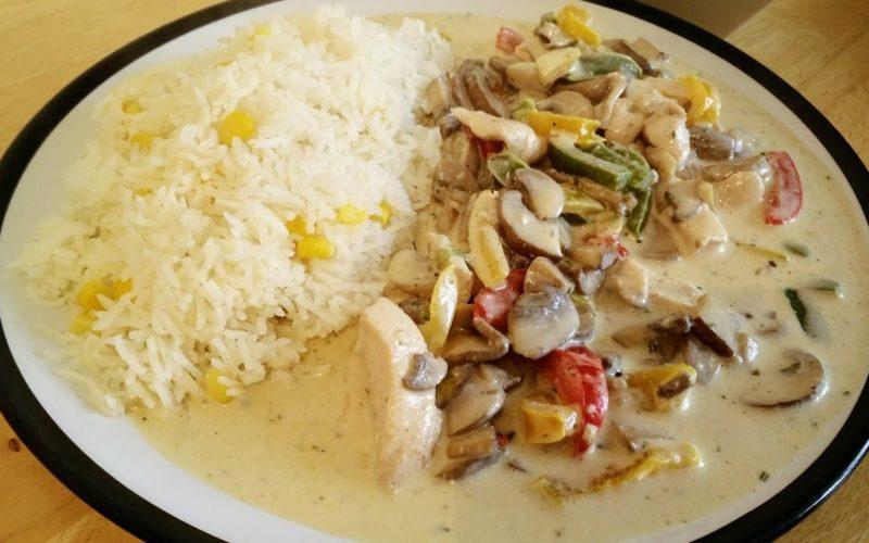 الدجاج بالكريمة مع الأرز