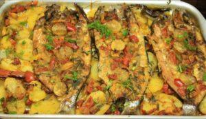 صينية السمك مع الخضار