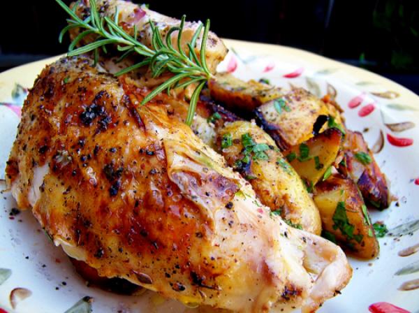 الدجاج المشوي مع الأعشاب